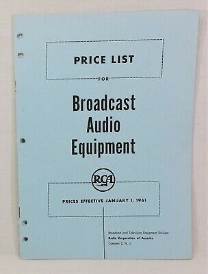 $9 • Buy RCA Price List For Broadcast Audio Equipment, Jan 1961 11 Pp Booklet