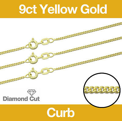 £111.35 • Buy 9ct Yellow Gold Diamond Cut Curb Necklace Chain 16 /18 /20 /22 /24  Jewellery