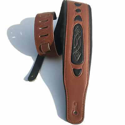 $ CDN22.63 • Buy Leather Cowhide Guitar Strap For Electric Bass Guitar Adjustable Padde