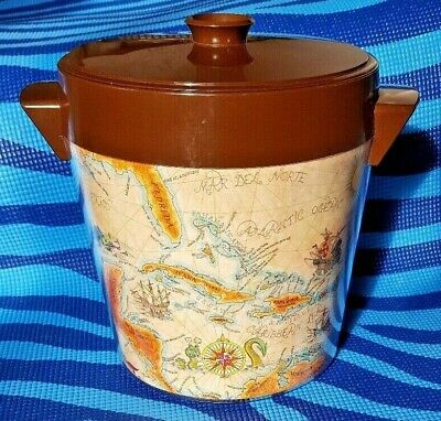 AU32.23 • Buy West Bend Thermo Serv Insulated Server Old World Map Discovery Ice Bucket