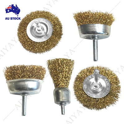 """AU17.95 • Buy Wire Brush Wheel Cup Flat End Brushes 1/4"""" Shank Rotary Grinder Tools Drill Bits"""