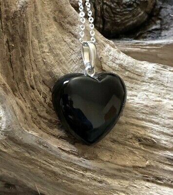 Hand Crafted Solid Whitby Jet Heart Pendant & Chain #014 • 45£
