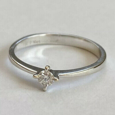 Gorgeous 18ct White Gold 0.10 Carat Diamond Solitaire Ring Engagement Size M.5 • 165£