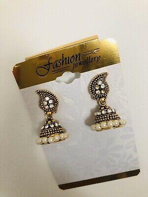 New Bollywood Jhumki Jhumka Earrings Gold Plated White Stones/ Pearl -Size Small • 3.47£