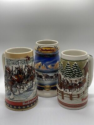$ CDN50.86 • Buy Lot Of 3 Budweiser Clydesdale's Holiday Beer Stein Christmas Mugs 1984 1988 2000