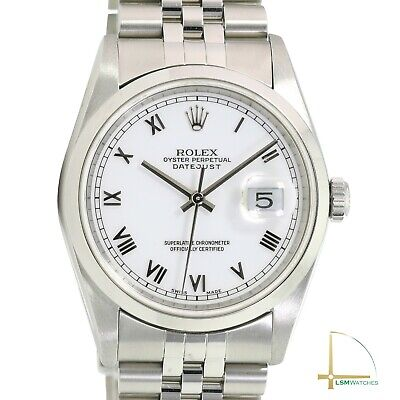 $ CDN6569.91 • Buy Rolex Datejust 16200 36mm Stainless Steel White Roman Numeral Dial Jubilee Watch