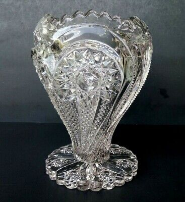 $65 • Buy Imperial - Zipper Heart - Antique Eapg Glass 9  Cupped Vase