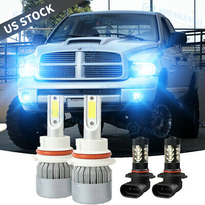 $30.98 • Buy For 02-05 Dodge Ram 1500 2500 3500 8000K 9007 LED Headlight+Fog Light Bulbs 9006
