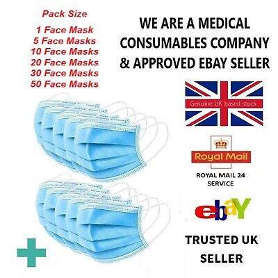 Face Mask Non Surgical 3PLY Disposable Mouth Breathable Face Masks 5 10 20 30 50 • 7.99£