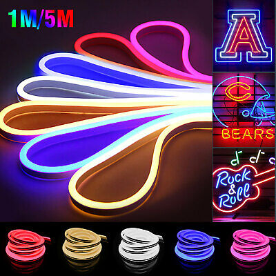 $11.47 • Buy 12V SMD 2835 Flexible LED Strip Waterproof Sign Neon Lights Silicone Tube 3.28ft