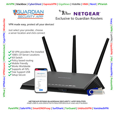 Netgear R7000 Guardian App Router VPN Surfshark Nord And Ivacy Purchase Options • 299£