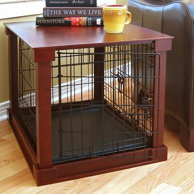 $334.44 • Buy Indoor Dog Crate Wood Pet Kennel Wooden Side End Table Wire Cage Cover Cherry