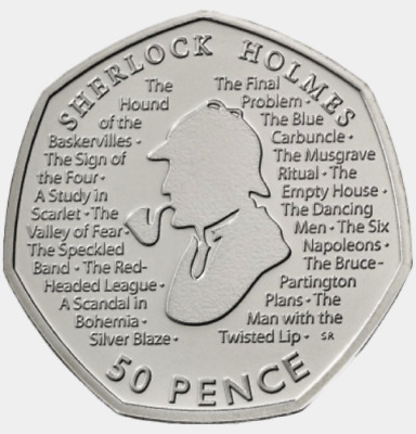 Sherlock Holmes 2019 50p Fifty Pence Coin.  New & Un-circulated. Free Postage  • 1.49£