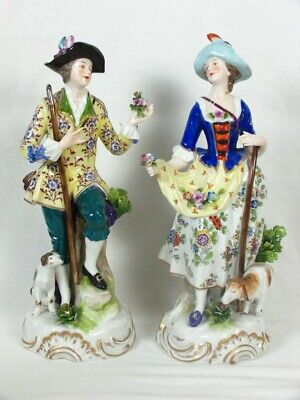 $ CDN543.43 • Buy 2 Antique Sitzendorf Porcelain Figurines Flowers Gold Anchor Man & Lady 11.5