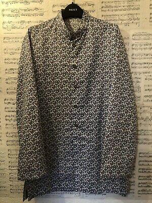 Vintage Mens Paisey Tunic Kaftan Shirt Top Mod White Brown Nehru Size Medium • 45£
