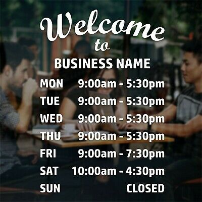 £11.99 • Buy Opening Times Sign Custom Window Sticker Business Retail Shop Cafe Open Hours