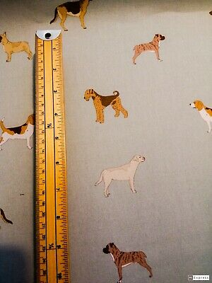 Dog Fabric Airedale Terrier Pug Labrador Boxer Beagle French Bulldog GSD Blue • 10.50£