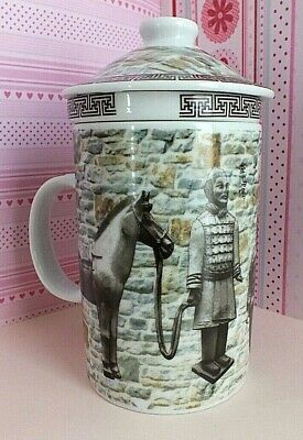 £16.99 • Buy Chinese Terracotta Horse Coffee Tea Soup Cereal Mug Cup W Infuser Lid Japanese
