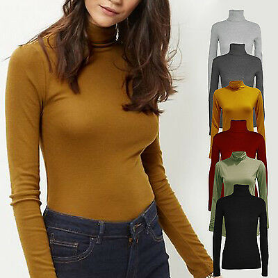 Ladies Long Sleeve Stretch Polo Roll Neck Top Jersey Style 8 - 18 Black Khaki • 7.49£