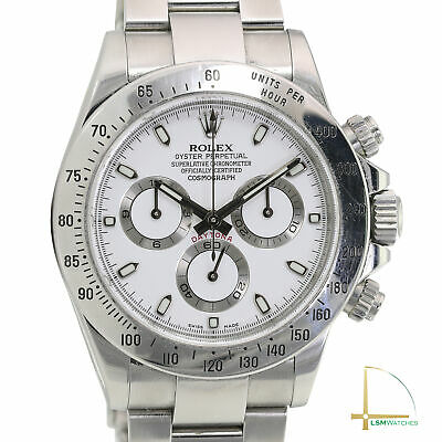 $ CDN29469.68 • Buy Rolex Daytona 116520 40mm SS Watch White Dial W/ Box And Cert UNPOLISHED