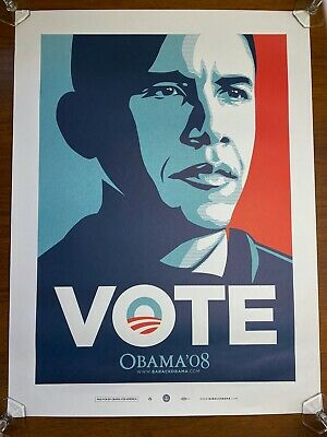 $49.95 • Buy Barack Obama VOTE By Shepard Fairey Official 2008 Campaign Artists Poster