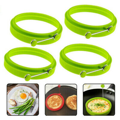 $9.75 • Buy 4pcs Silicone Round Ring Fried Fry Mold Pancake Egg Mould Tool Kitchen Gadgets