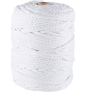 AU45 • Buy 5mm White Macrame Rope 1kg 145m Coloured 3ply Cotton Cord String Strand Twisted