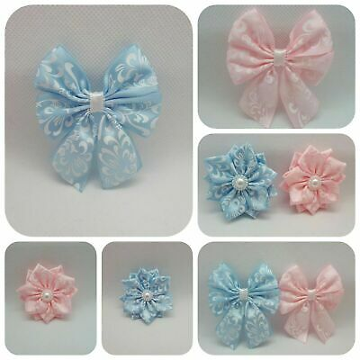 Satin Bows Self Adhesive Baby Shower Baby Pink Blue Favour Gift Box Decor UK • 2.69£