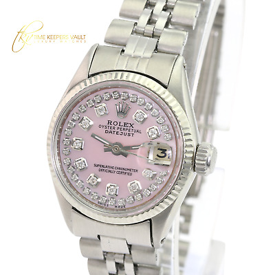 $ CDN4669.45 • Buy Rolex  Vintage Womens Datejust 26mm Pink MOP Diamond Dial Fluted Bezel Watch