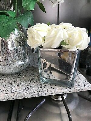 White Faux Roses In Mirror Cube Vase New Wedding Home Decor Mirrored Cube Rose • 13£