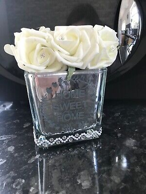White Faux Roses In Mirror Cube Vase New Home Decor Mirrored Cube Rose • 20£