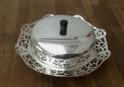 Vintage - Butter Dish - Manco - Silver Plated & Glass Insert & Silver Plated Lid • 19.99£