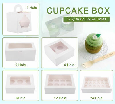AU9.99 • Buy 1/2/4/6/12/24 Holes Cupcake Box Window Face Cake Boxes Boards Cupcake Boxes