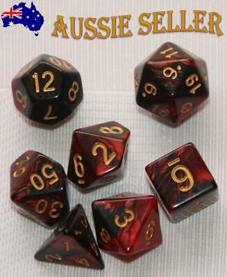 AU10.98 • Buy Dice 7 Pce Set D & D Polyhedral Black & Red Pearl Pathfinder Dungeons & Dragons