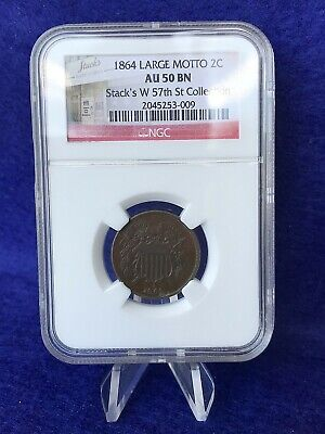 $ CDN134.01 • Buy 1864 2 Cent Piece Large Motto *ngc Au50 Bn About Uncirculated*