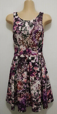 AU20 • Buy FOREVER NEW Purple Floral Pleat Dress. Size 6
