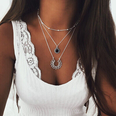 $ CDN3.02 • Buy Silver  Multi Layer Lotus Flower Pendant Love Heart Choker Statement Necklace