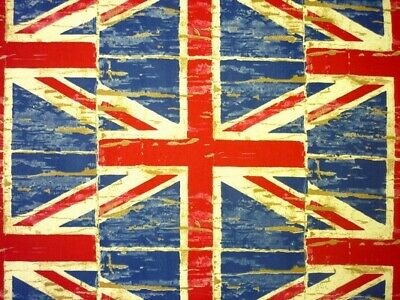 Prestigious Distressed Denim Union Jack 100% Cotton Fabric  • 7.99£