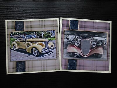 £1.25 • Buy 2 X Vintage Car Card Toppers Great For Mens/Boys Cards Hand Made
