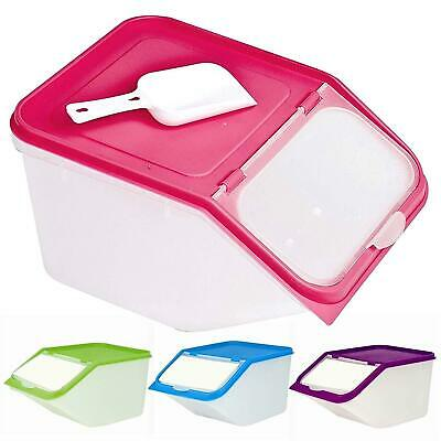 £11.99 • Buy 4 X LARGE 3.5L DRY FOOD CONTAINERS + SCOOP Cat/Dog/Biscuits Flip Lid Storage