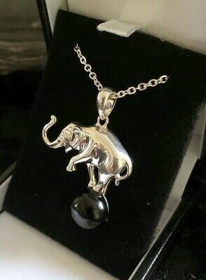 Hand Crafted Sterling Silver & Whitby Jet Elephant On Ball Pendant &  18  Chain • 48£
