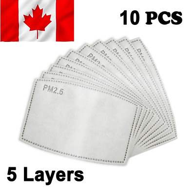 $ CDN9.99 • Buy 10X PM2.5 Face Mask Filter 5 Layers - Activated Carbon Filters Replacement