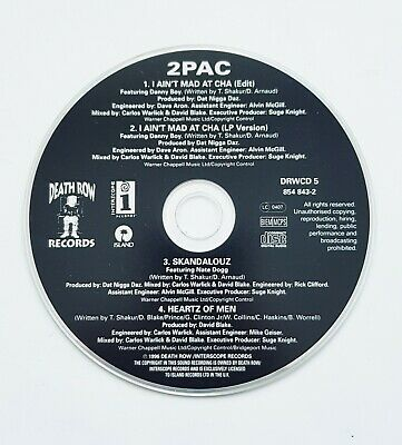 2 Pac CD 4 Tracks I Ain't Mad At Cha Skandalouz Heartz Of Men Death Row Records • 4.99£