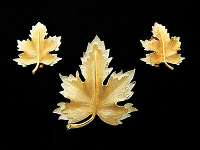 $17.95 • Buy Vtg 1964 Sarah Coventry Leaf Brooch Pin Clip Earrings Jewelry Set Natures Choice