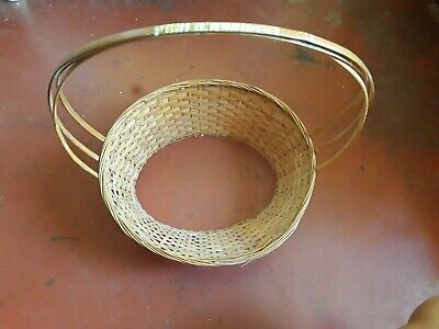 Oval COUNTRY Woven Cane WICKER BASKET Strap Handle Fruit Gift Arrangement Egg • 7.71£