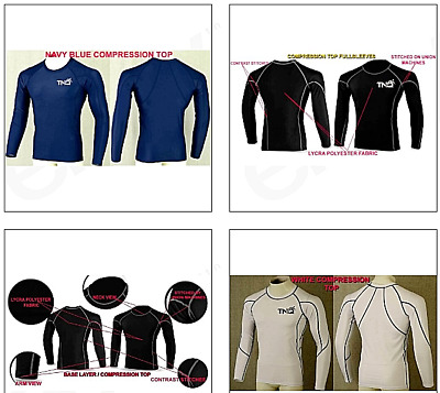 Men's Compression Base Layer Body Armour Long Sleeve Men's Gym T-Shirt Sports Uk • 8.75£