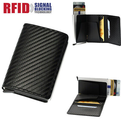 AU8.59 • Buy Genuine Leather Credit Card Holder RFID Blocking Cash Wallet Money Clip Purse