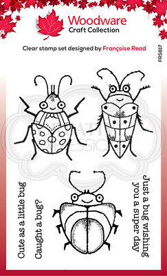 Woodware Cute Bugs Clear Stamp By Francoise Read FRS817 • 6£