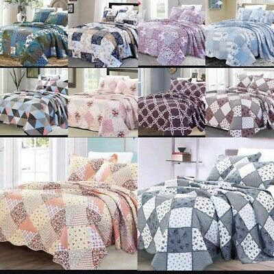 £28.99 • Buy Quilted Patchwork Bedspread 3 Piece Printed Comforter Throw Set Double King Size