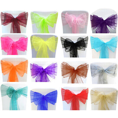 £4.99 • Buy Organza Chair Sashes Wraps Seat Bow Prom Party Event Decor Table Sash Ribbons